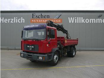 Tippbil lastbil MAN ME 18.250 B Meiller 3-S-Kipper, Hiab 085-2 Kran