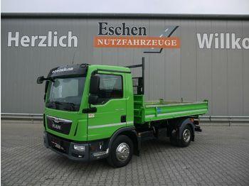 Transportbil med tippflak MAN TGL 8.180 BB, Meiller 3-Seiten, 3 Sitze, 2 AHK